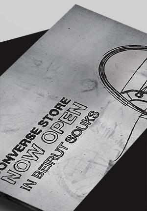 For their opening in Beirut, Converse chose a Converse Flyer and Shop card design