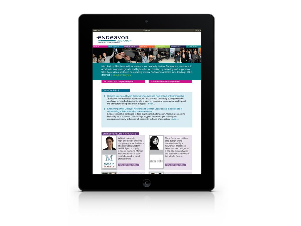 Endeavor Quarterly E-Newsletter Design