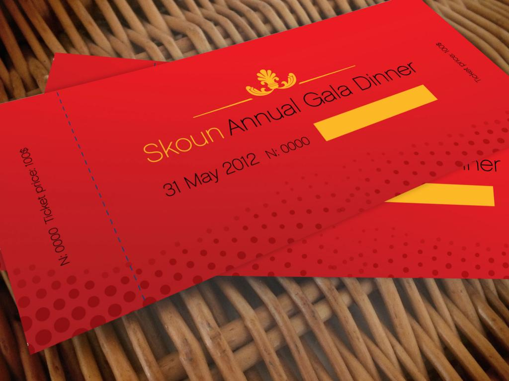 Skoun Gala Dinner tombola ticket Design